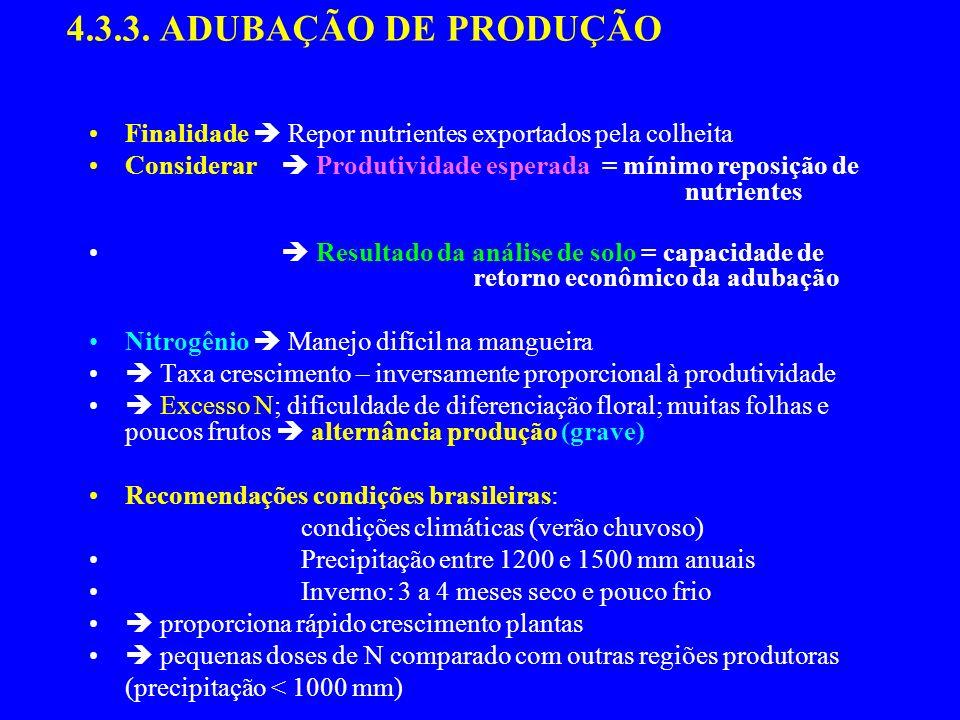 4.3.3. ADUBAÇÃO DE PRODUÇÃO Finalidade Repor nutrientes exportados pela colheita Considerar Produtividade esperada = mínimo reposição de nutrientes Re