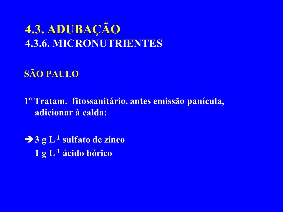 4.3. ADUBAÇÃO 4.3.6. MICRONUTRIENTES SÃO PAULO 1º Tratam. fitossanitário, antes emissão panícula, adicionar à calda: 3 g L -1 sulfato de zinco 1 g L -