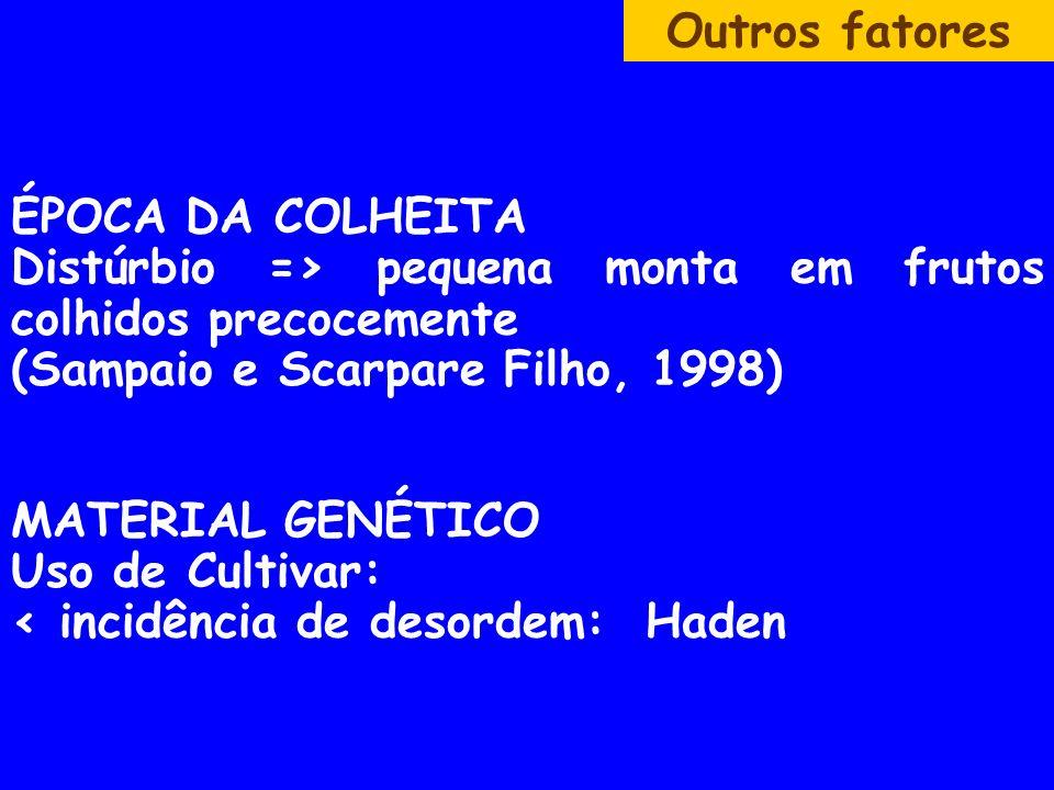 Outros fatores ÉPOCA DA COLHEITA Distúrbio => pequena monta em frutos colhidos precocemente (Sampaio e Scarpare Filho, 1998) MATERIAL GENÉTICO Uso de Cultivar: < incidência de desordem: Haden