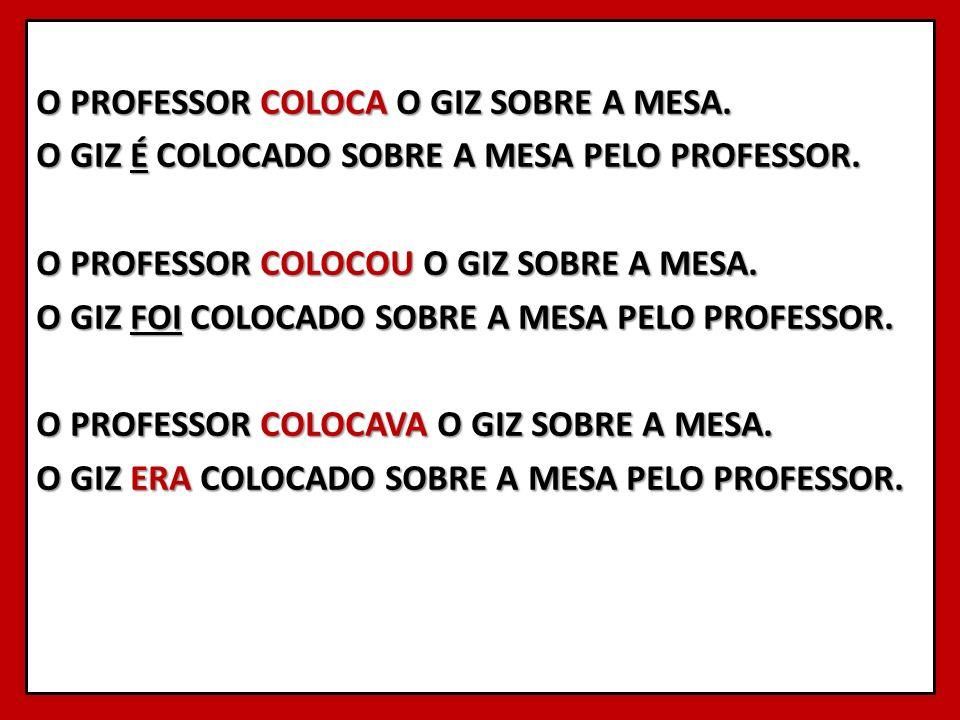 O PROFESSOR COLOCA O GIZ SOBRE A MESA. O GIZ É COLOCADO SOBRE A MESA PELO PROFESSOR. O PROFESSOR COLOCOU O GIZ SOBRE A MESA. O GIZ FOI COLOCADO SOBRE