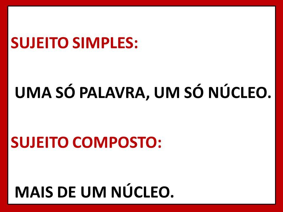 SUJEITO SIMPLES: UMA SÓ PALAVRA, UM SÓ NÚCLEO. SUJEITO COMPOSTO: MAIS DE UM NÚCLEO. 6