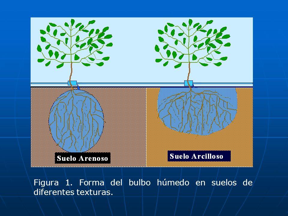 Figura 1. Forma del bulbo húmedo en suelos de diferentes texturas.