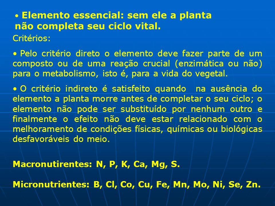 Elemento essencial: sem ele a planta não completa seu ciclo vital. Critérios: Pelo critério direto o elemento deve fazer parte de um composto ou de um