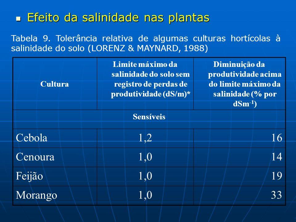 Efeito da salinidade nas plantas Efeito da salinidade nas plantas Tabela 9. Tolerância relativa de algumas culturas hortícolas à salinidade do solo (L