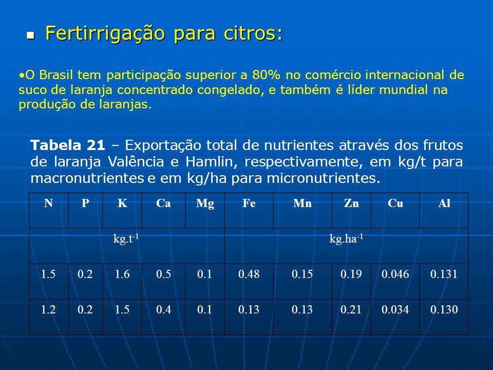 Fertirrigação para citros: Fertirrigação para citros: O Brasil tem participação superior a 80% no comércio internacional de suco de laranja concentrad