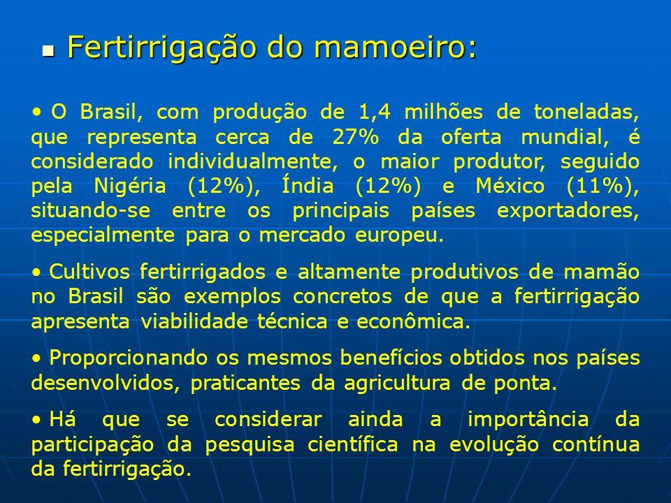 Fertirrigação do mamoeiro: Fertirrigação do mamoeiro: O Brasil, com produção de 1,4 milhões de toneladas, que representa cerca de 27% da oferta mundia