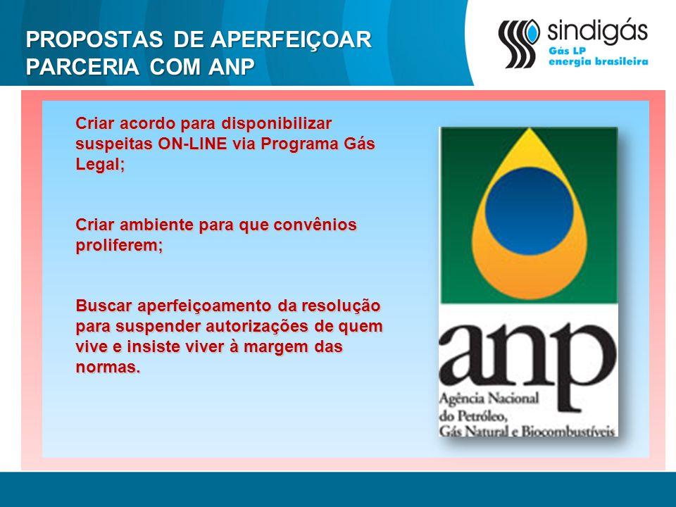 PROPOSTAS DE APERFEIÇOAR PARCERIA COM ANP Criar acordo para disponibilizar suspeitas ON-LINE via Programa Gás Legal; Criar ambiente para que convênios