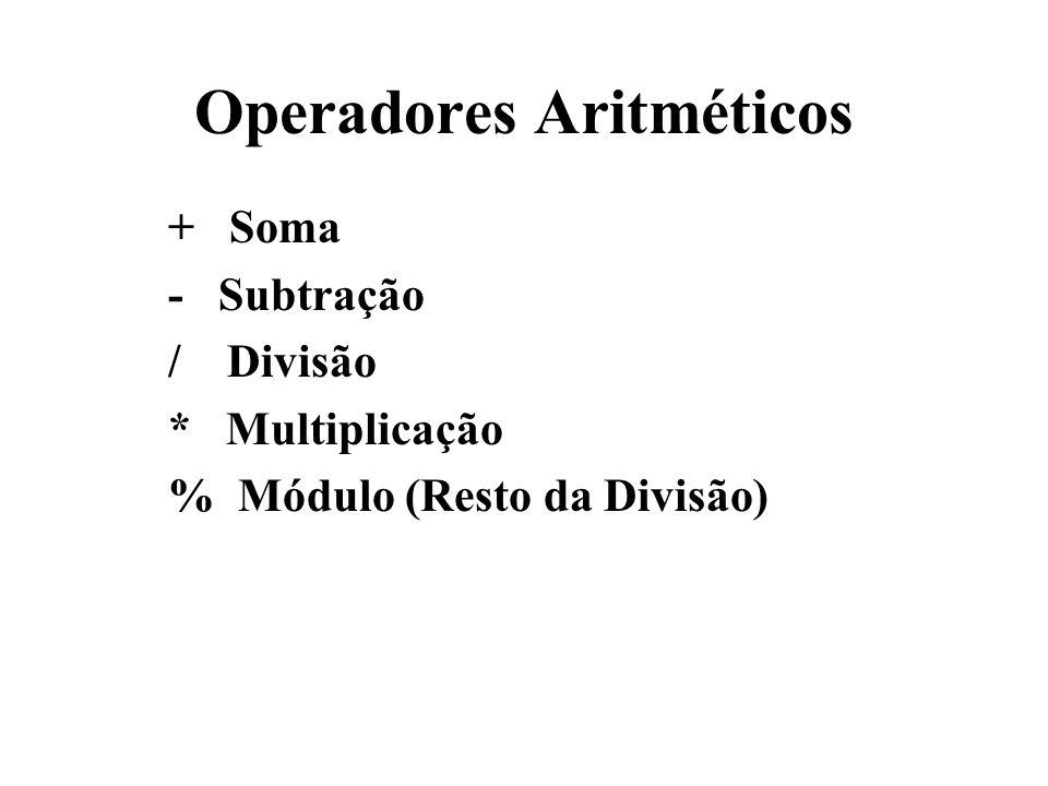 Operadores Aritméticos + Soma - Subtração / Divisão * Multiplicação % Módulo (Resto da Divisão)