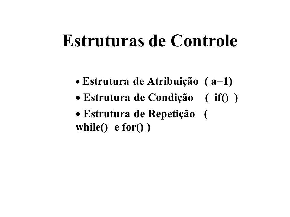 Estruturas de Controle Estrutura de Atribuição ( a=1) Estrutura de Condição ( if() ) Estrutura de Repetição ( while() e for() )