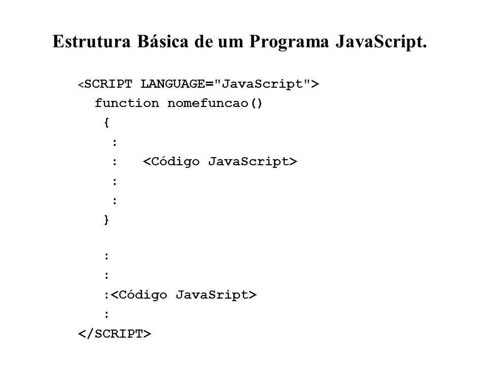 Estrutura Básica de um Programa JavaScript. function nomefuncao() { : } :