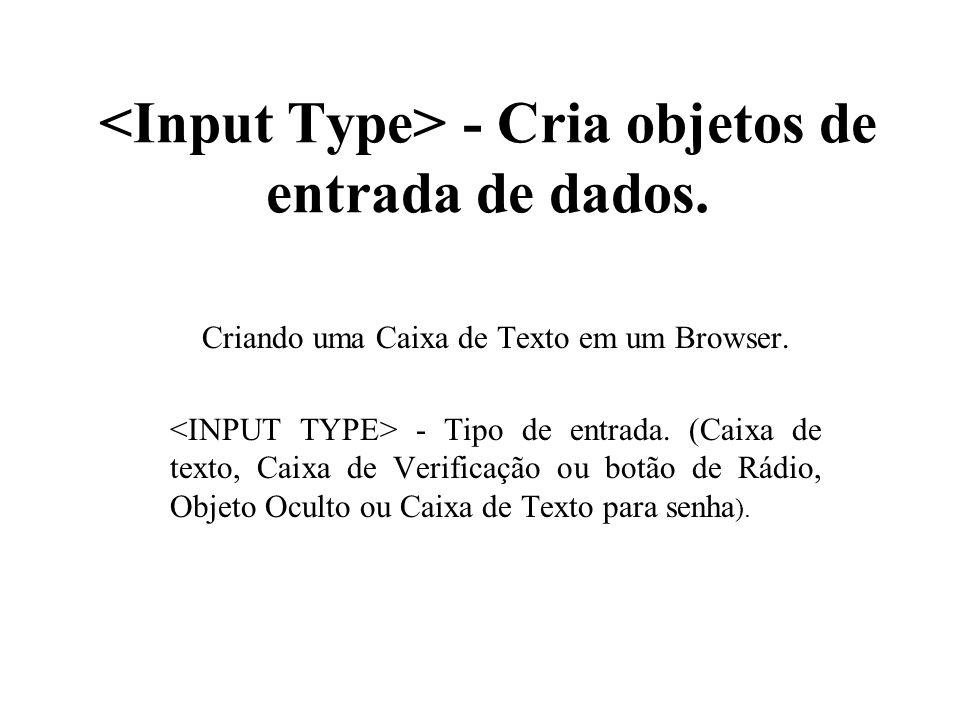 - Cria objetos de entrada de dados. Criando uma Caixa de Texto em um Browser. - Tipo de entrada. (Caixa de texto, Caixa de Verificação ou botão de Rád