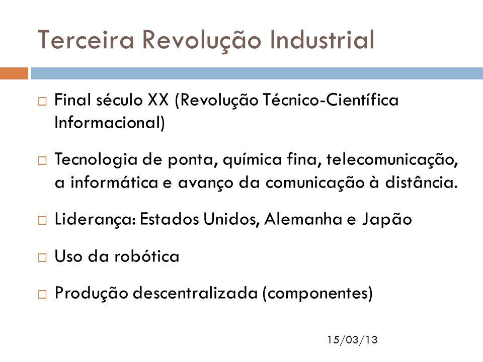 15/03/13 Terceira Revolução Industrial Final século XX (Revolução Técnico-Científica Informacional) Tecnologia de ponta, química fina, telecomunicação
