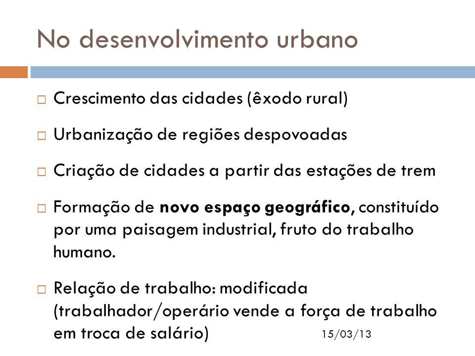 15/03/13 No desenvolvimento urbano Crescimento das cidades (êxodo rural) Urbanização de regiões despovoadas Criação de cidades a partir das estações d