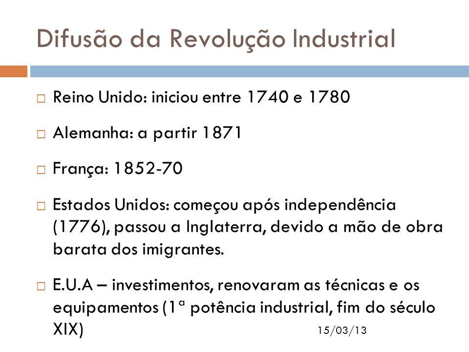 15/03/13 Difusão da Revolução Industrial Reino Unido: iniciou entre 1740 e 1780 Alemanha: a partir 1871 França: 1852-70 Estados Unidos: começou após i