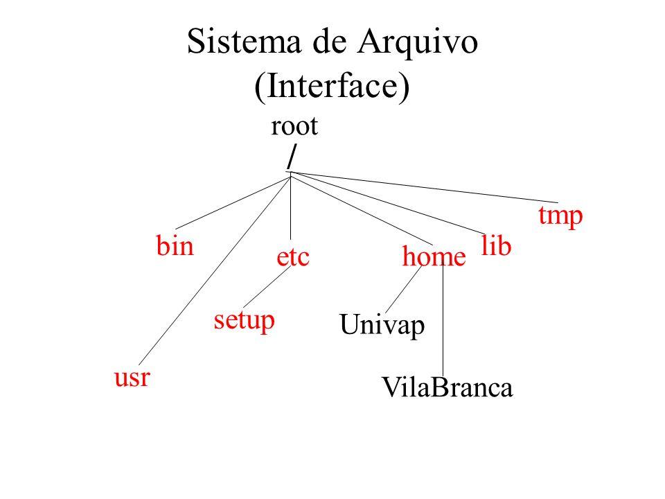 Sistema de Arquivo (Interface) / bin etc setup home Univap VilaBranca root lib tmp usr