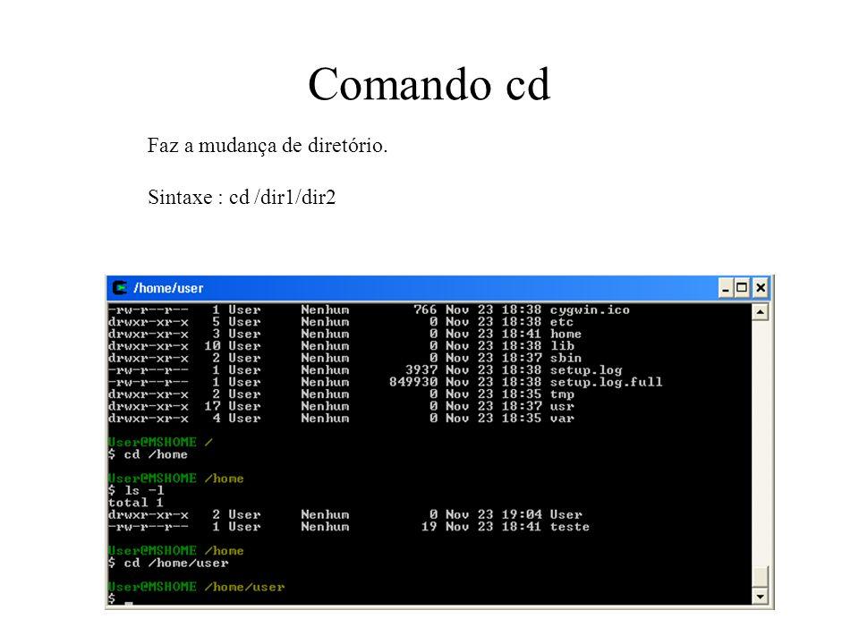 Comando cd Faz a mudança de diretório. Sintaxe : cd /dir1/dir2