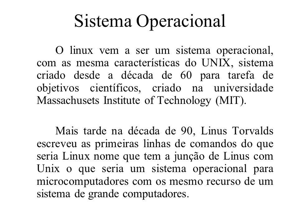 Sistema Operacional O linux vem a ser um sistema operacional, com as mesma características do UNIX, sistema criado desde a década de 60 para tarefa de