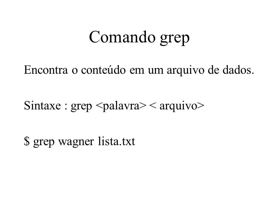 Comando grep Encontra o conteúdo em um arquivo de dados. Sintaxe : grep $ grep wagner lista.txt