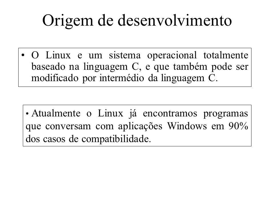 Origem de desenvolvimento O Linux e um sistema operacional totalmente baseado na linguagem C, e que também pode ser modificado por intermédio da lingu