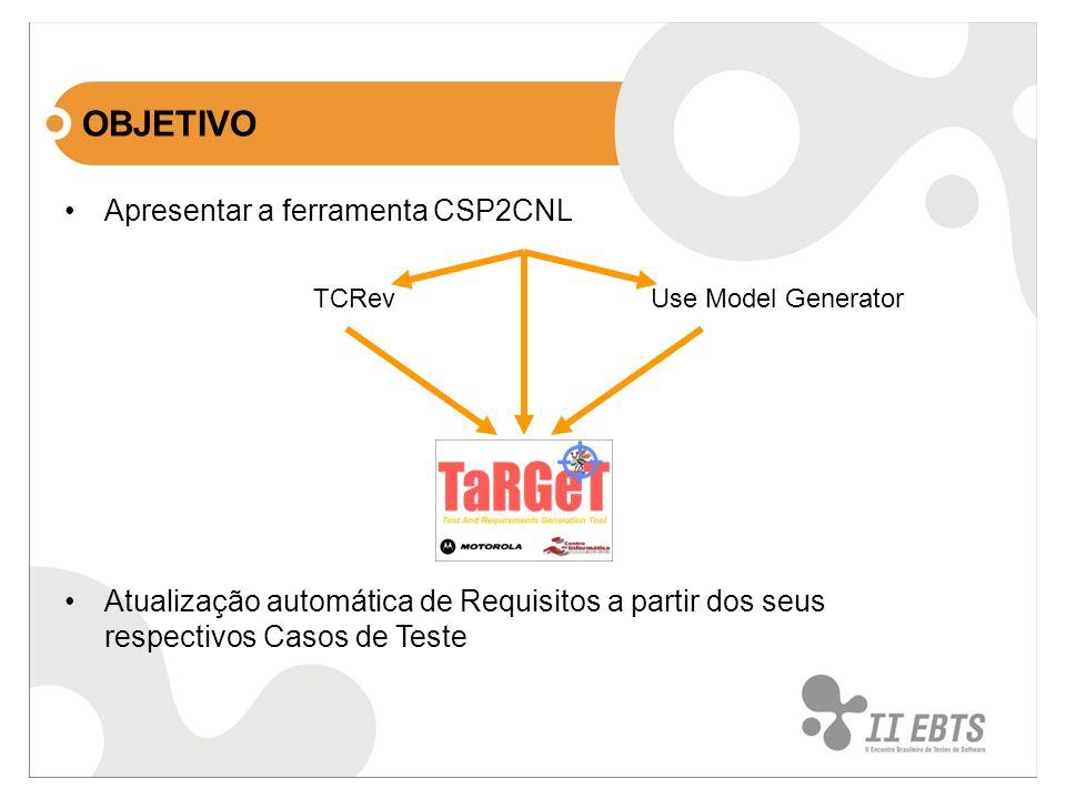 Apresentar a ferramenta CSP2CNL Use Model GeneratorTCRev Atualização automática de Requisitos a partir dos seus respectivos Casos de Teste