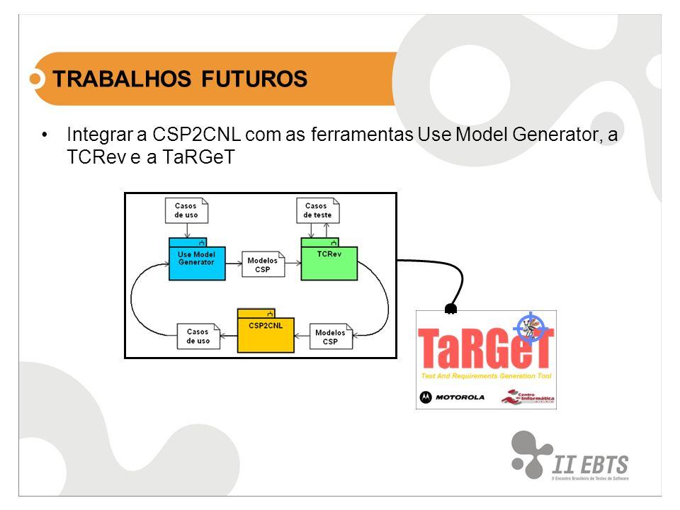 TRABALHOS FUTUROS Integrar a CSP2CNL com as ferramentas Use Model Generator, a TCRev e a TaRGeT