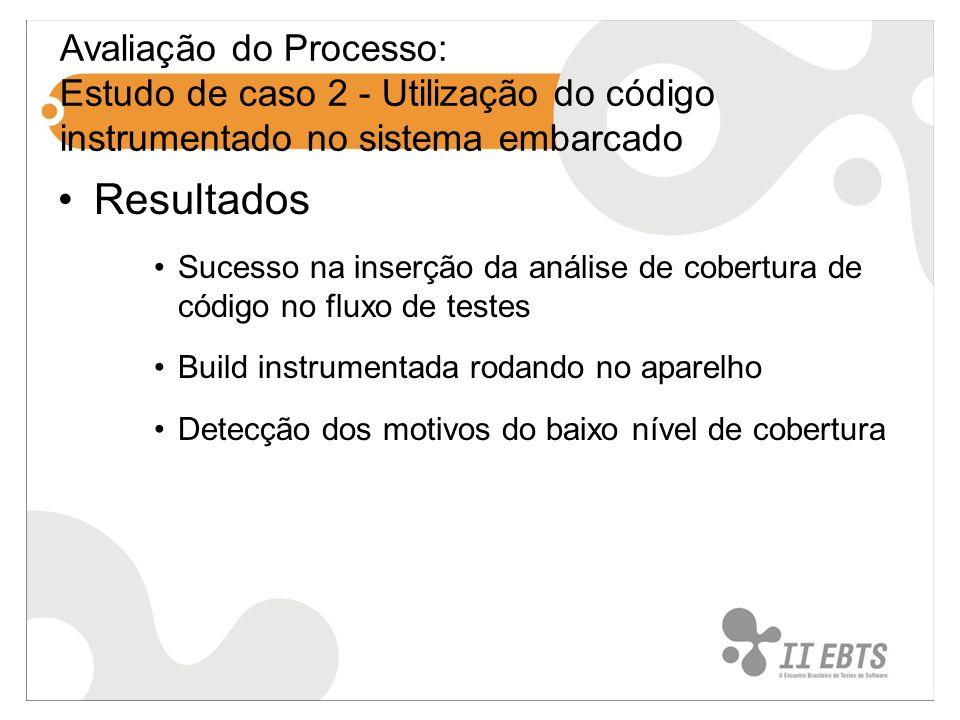 Avaliação do Processo: Estudo de caso 2 - Utilização do código instrumentado no sistema embarcado Resultados Sucesso na inserção da análise de cobertura de código no fluxo de testes Build instrumentada rodando no aparelho Detecção dos motivos do baixo nível de cobertura