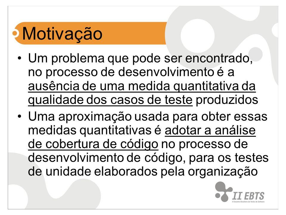 Motivação Um problema que pode ser encontrado, no processo de desenvolvimento é a ausência de uma medida quantitativa da qualidade dos casos de teste produzidos Uma aproximação usada para obter essas medidas quantitativas é adotar a análise de cobertura de código no processo de desenvolvimento de código, para os testes de unidade elaborados pela organização