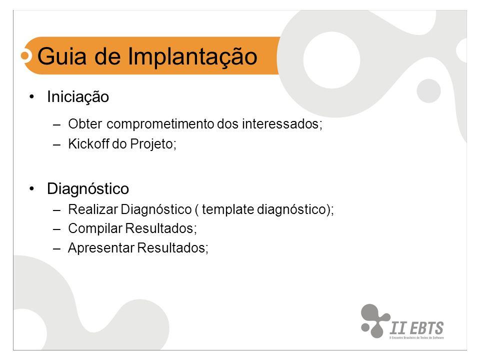 Guia de Implantação Iniciação –Obter comprometimento dos interessados; –Kickoff do Projeto; Diagnóstico –Realizar Diagnóstico ( template diagnóstico);