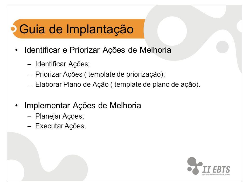 Guia de Implantação Identificar e Priorizar Ações de Melhoria –Identificar Ações; –Priorizar Ações ( template de priorização); –Elaborar Plano de Ação