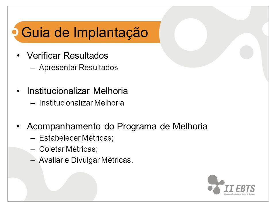 Guia de Implantação Verificar Resultados –Apresentar Resultados Institucionalizar Melhoria –Institucionalizar Melhoria Acompanhamento do Programa de M