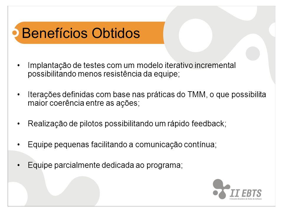 Benefícios Obtidos Implantação de testes com um modelo iterativo incremental possibilitando menos resistência da equipe; Iterações definidas com base
