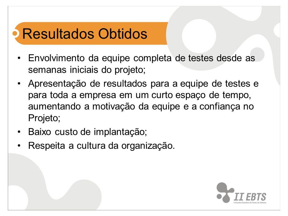 Resultados Obtidos Envolvimento da equipe completa de testes desde as semanas iniciais do projeto; Apresentação de resultados para a equipe de testes