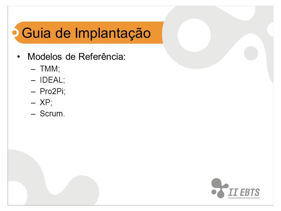 Objetivo Elaborar um Guia de Implantação de Teste de software baseado nos 2 primeiros níveis do TMM e no modelo IDEAL para pequenas e médias empresas de software.