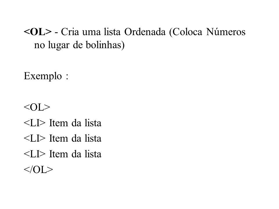 - Cria uma lista Ordenada (Coloca Números no lugar de bolinhas) Exemplo : Item da lista