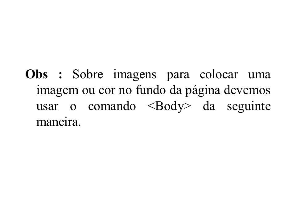 Obs : Sobre imagens para colocar uma imagem ou cor no fundo da página devemos usar o comando da seguinte maneira.