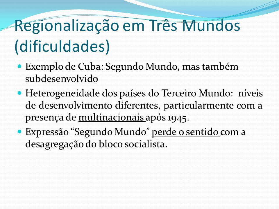 Regionalização em Três Mundos (dificuldades) Exemplo de Cuba: Segundo Mundo, mas também subdesenvolvido Heterogeneidade dos países do Terceiro Mundo:
