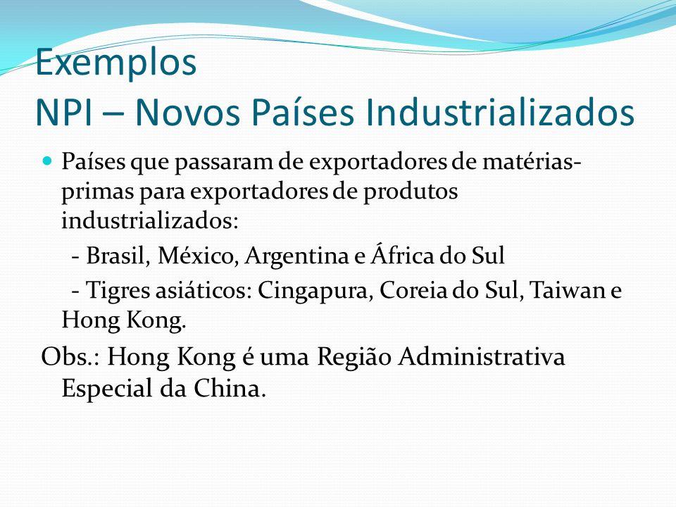 Exemplos NPI – Novos Países Industrializados Países que passaram de exportadores de matérias- primas para exportadores de produtos industrializados: -