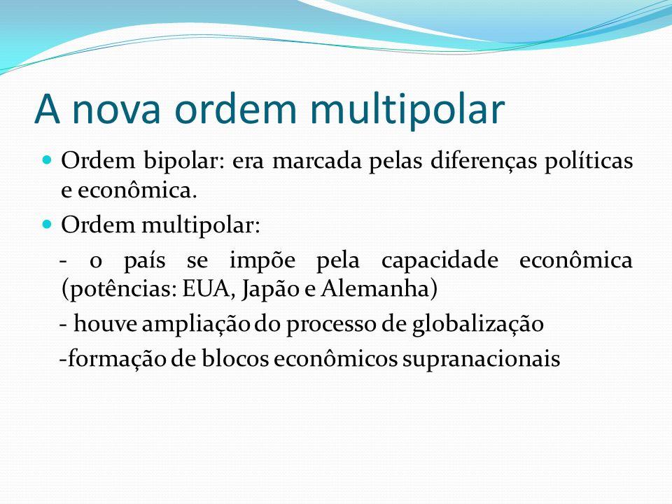 A nova ordem multipolar Ordem bipolar: era marcada pelas diferenças políticas e econômica. Ordem multipolar: - o país se impõe pela capacidade econômi