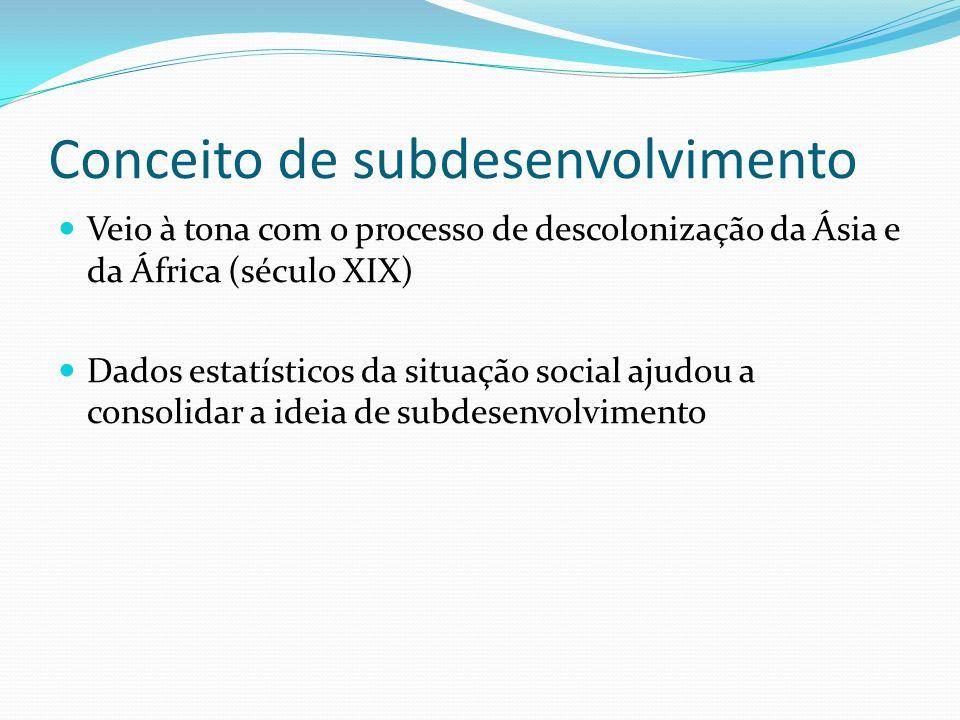 Conceito de subdesenvolvimento Veio à tona com o processo de descolonização da Ásia e da África (século XIX) Dados estatísticos da situação social aju