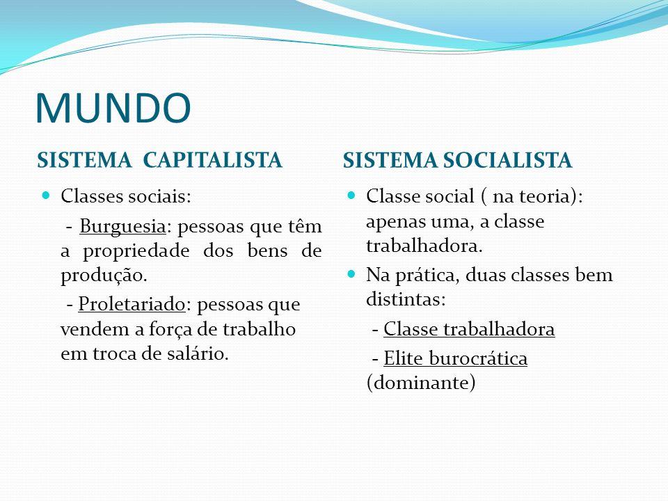 Sistema socialista Países socialistas: China, Coreia do Norte, Vietnã e Cuba.