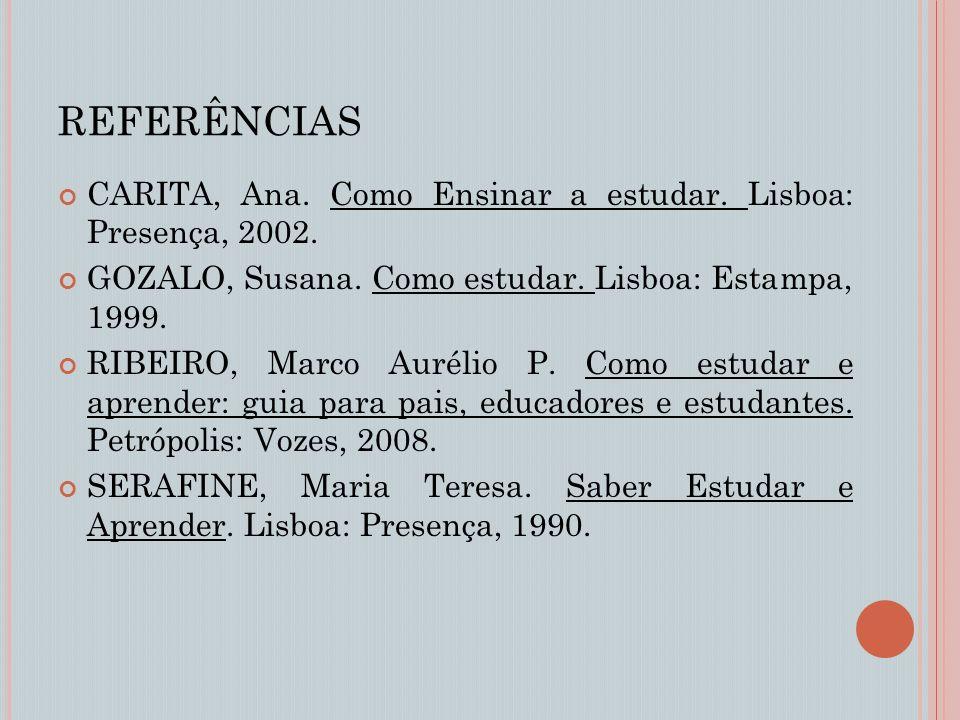 REFERÊNCIAS CARITA, Ana.Como Ensinar a estudar. Lisboa: Presença, 2002.