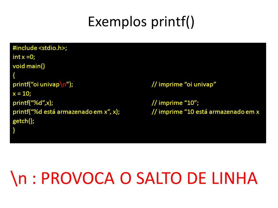 Exemplos printf() #include ; int x =0; void main() { printf(oi univap\n); // imprime oi univap x = 10; printf(%d,x);// imprime 10; printf(%d está arma