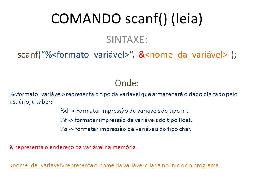 COMANDO scanf() (leia) SINTAXE: scanf(%, & ); Onde: % representa o tipo da variável que armazenará o dado digitado pelo usuário, a saber: %d -> Format