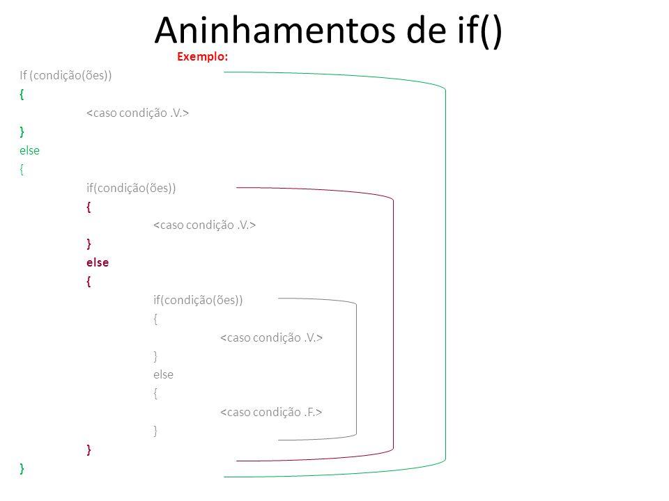 Aninhamentos de if() Exemplo: If (condição(ões)) { } else { if(condição(ões)) { } else { if(condição(ões)) { } else { }