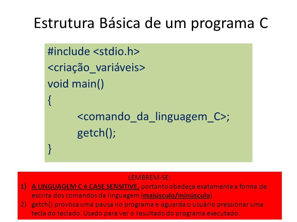 Estrutura Básica de um programa C #include void main() { ; getch(); } LEMBREM-SE: 1)A LINGUAGEM C é CASE SENSITIVE, portanto obedeça exatamente a form