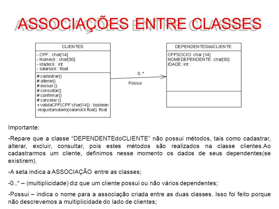 ASSOCIAÇÕES ENTRE CLASSES Importante: -Repare que a classe DEPENDENTEdoCLIENTE não possui métodos, tais como cadastrar, alterar, excluir, consultar, p