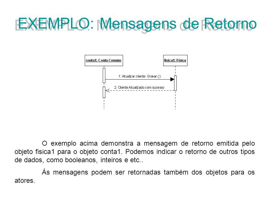EXEMPLO: Mensagens de Retorno O exemplo acima demonstra a mensagem de retorno emitida pelo objeto fisica1 para o objeto conta1. Podemos indicar o reto