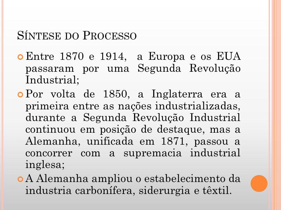 S ÍNTESE DO P ROCESSO Entre 1870 e 1914, a Europa e os EUA passaram por uma Segunda Revolução Industrial; Por volta de 1850, a Inglaterra era a primei