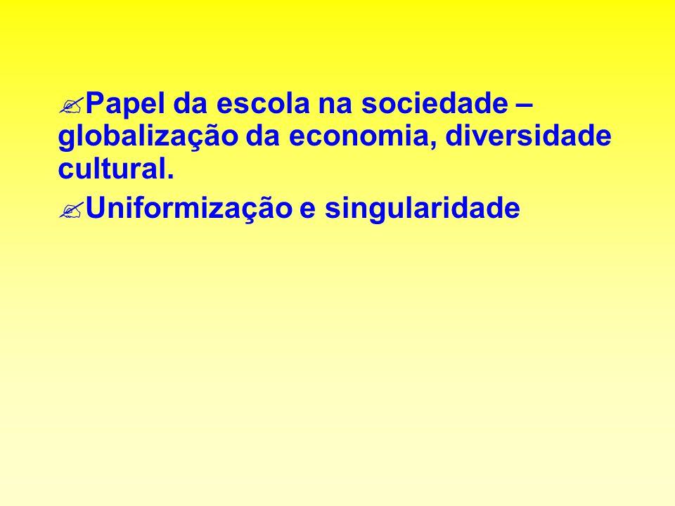 ?Papel da escola na sociedade – globalização da economia, diversidade cultural.