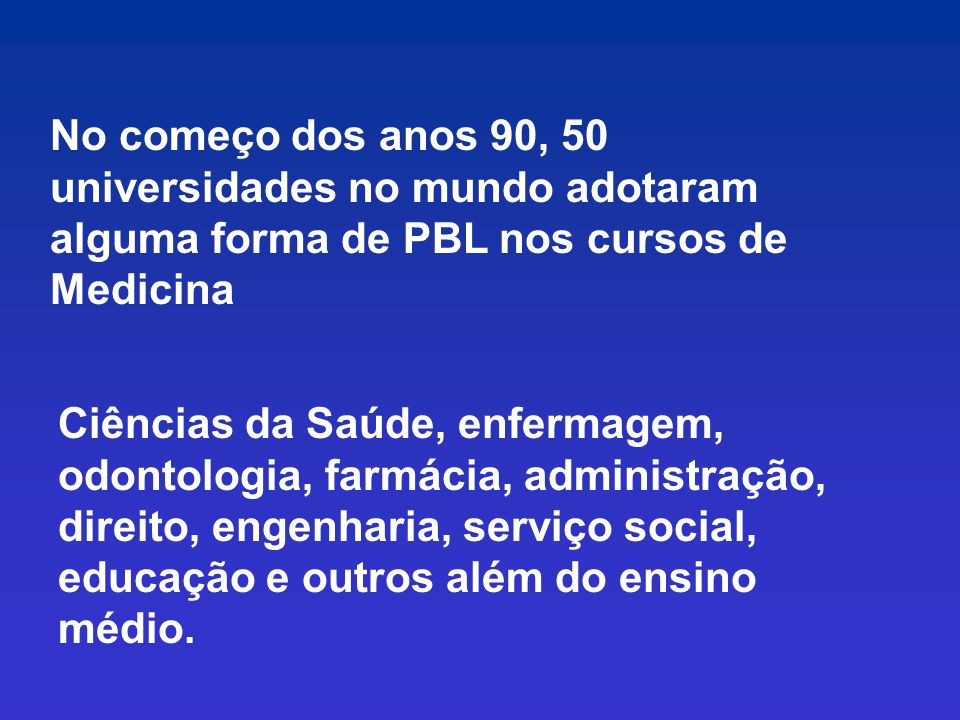 Um pouco de História do PBL PBL formal nasceu in Case Western Reserve University Medical School (U.S.A). Faculdade de Medicina da Universidade de McMa